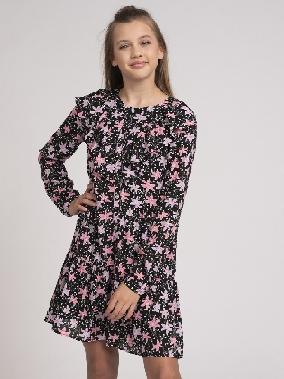 Tessa Big Flower Dress Black