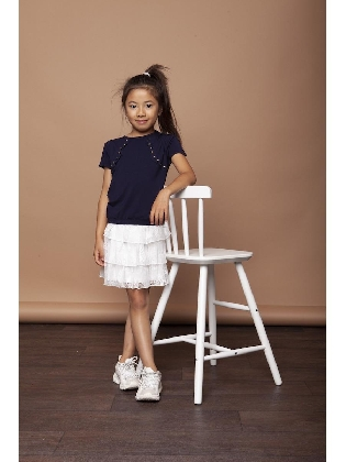 Skirt Seashell Lace Satin Belt Off White