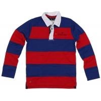 Pointer Polo gestreept rood-blauw