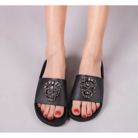 THE WHITEBRAND Slipper Skull Brilliant Black