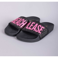 THE WHITEBRAND Slipper Glitter Beach Please Black Pink