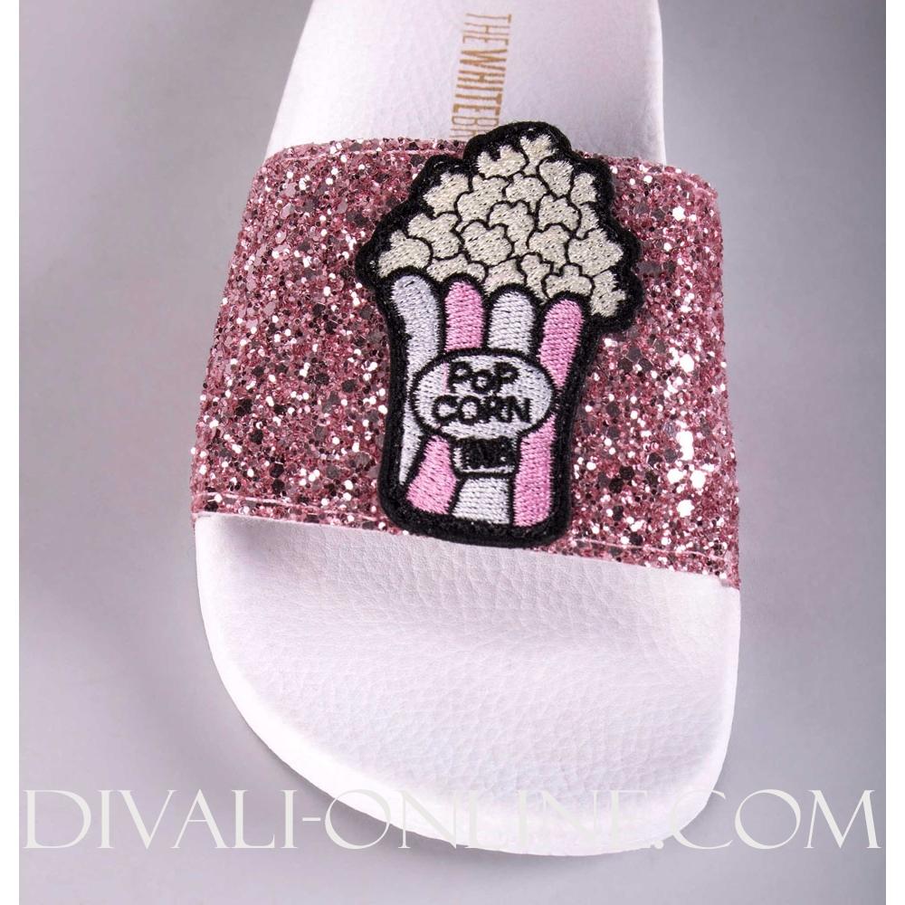 Slipper Glitter Pink Popcorn