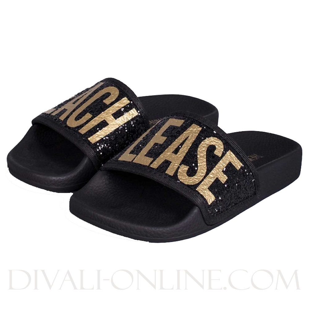 Slipper Glitter Beach please Black
