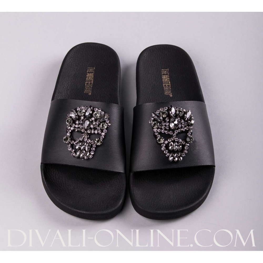 Slipper Skull Brilliant Black
