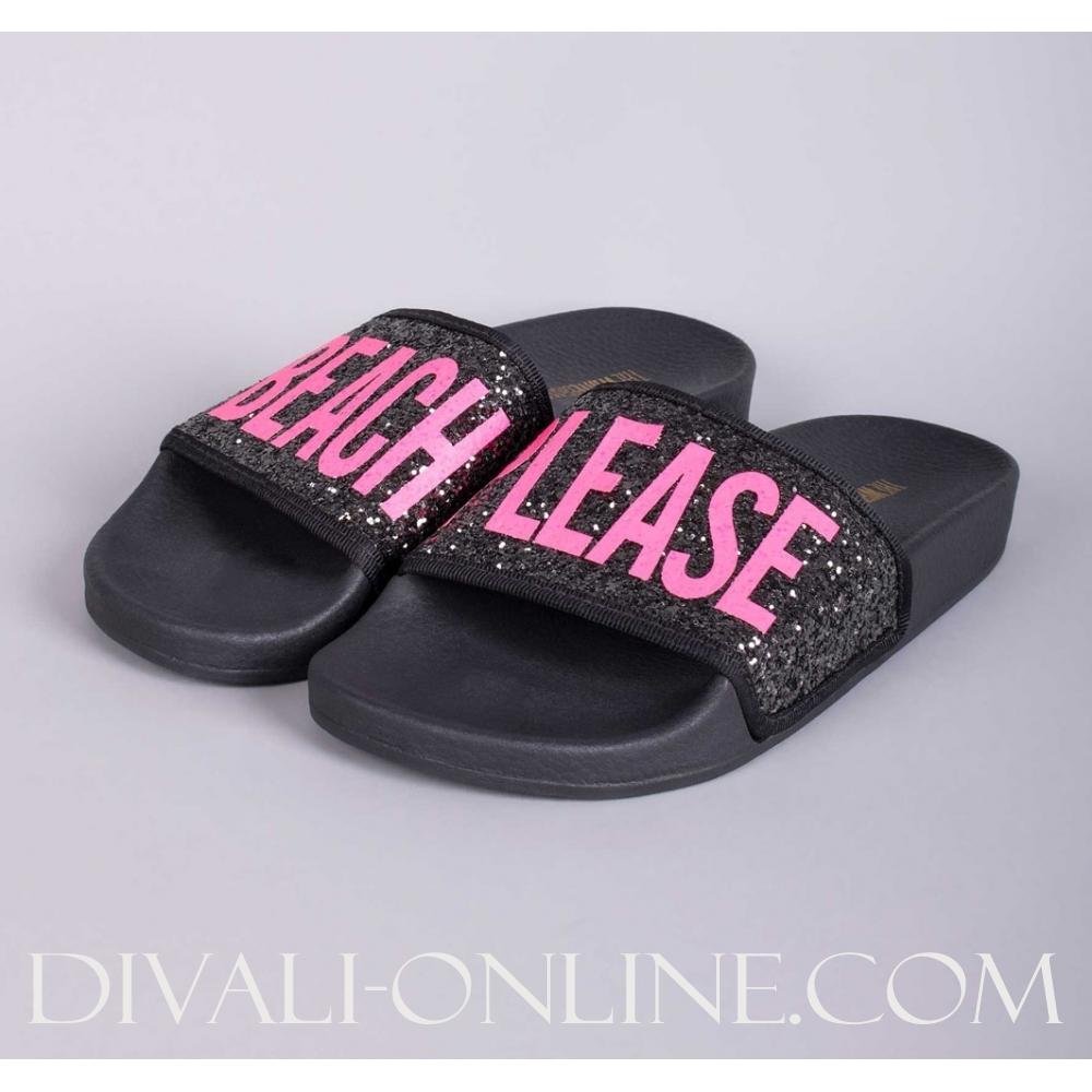 Slipper Glitter Beach Please Black Pink